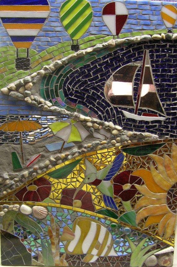 Summer's Here...Glass Mosaic of Summer Scenes with Seashells and More on Etsy, $300.00