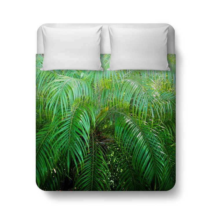 Bring a jungle island feel to your bedroom settings with this duvet cover bed blanket throw, featuring a lush tropical landscape of green palm tree fronds throughout! Available in Twin, Full, Queen and King Size, this beach bohemian bedding accent makes for a great addition to the decor of any surf bungalow home setting! *Available in Twin, Full, Queen or King Size