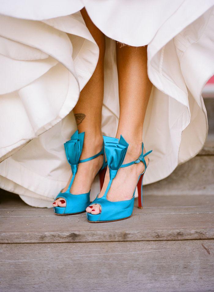 Bright blue t-strap sandals.
