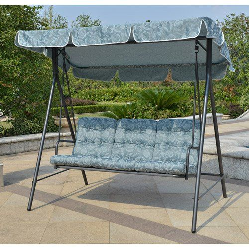 Mainstays Willow Springs Outdoor Swing Blue Seats 3 https://patioporchswings.info/mainstays-willow-springs-outdoor-swing-blue-seats-3/