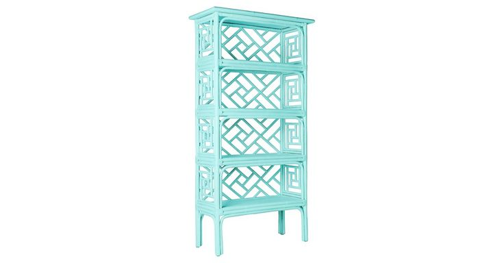 Inspired by Chippendale chinoiserie motifs and finished in a dreamy sea-glass blue, this rattan étagère will instantly enliven any space. Rawhide bindings add strength and durability as well as...