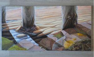 """Beach impression"" Oil painting 60x120 cm. by René van Wasbeek 2014"