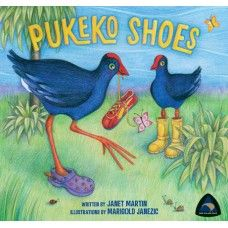 """Pukeko Shoes. A rhyming story by award winning New Zealand author Janet Martin with illustrations by Marigold Janezic. """"Lulu Pukeko found some old shoes, Jacko Pukeko discovered them too. Four pukeko feet, only one pair of shoes - what will the pukekos do?"""" A story about sharing, with the pukekos romping through the pages to find a surprise at the end! Printed music score included in book. Made in New Zealand for ages 2-6.  See more at www.entirelynz.co.nz/gifts"""