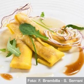 Cannelloni di capriolo e cagliata con crema di cipolla e birra. Chef Riccardo Agostini  http://www.identitagolose.it/sito/it/ricette.php?id_cat=12&id_art=956&nv_portata=3&nv_chef=&nv_chefid=&nv_congresso=&nv_pg=1