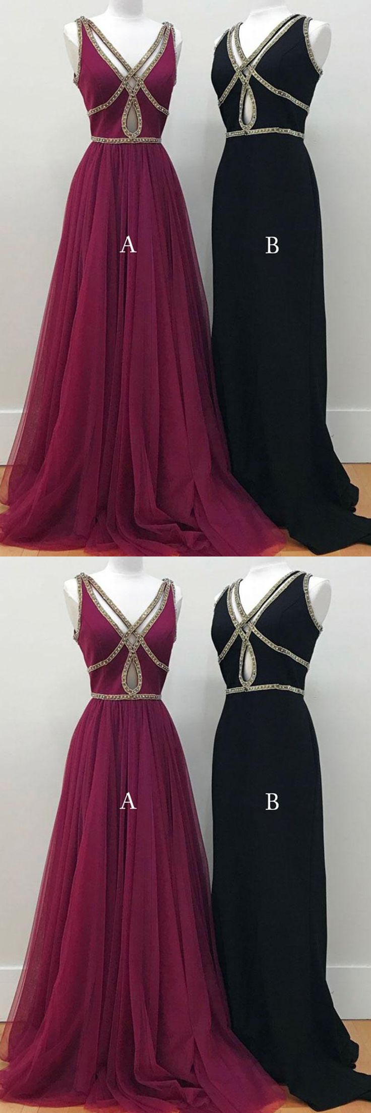 Simple hollow out long V neck evening dresses, long beaded tulle prom dress