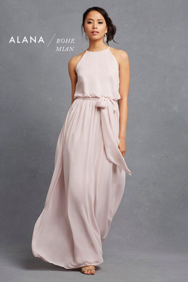 Blush pink bohemian inspired floor length bridesmaid gown from Donna Morgan