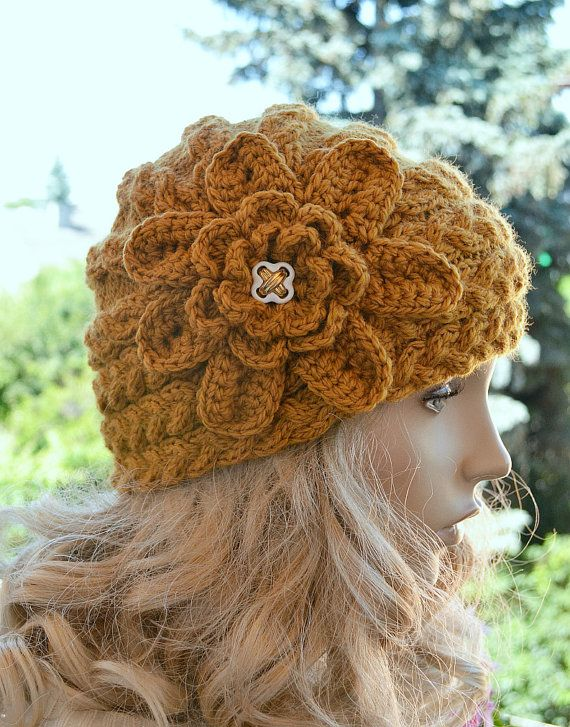 Knitted cap in flower cap  hat lovely warm autumn accessories women clothing Knit Hat Womens lovely    #knitted #cap #flower