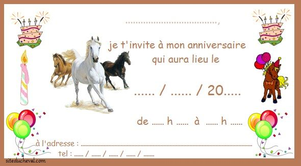 cartes invitation anniversaire cheval horse invitation. Black Bedroom Furniture Sets. Home Design Ideas