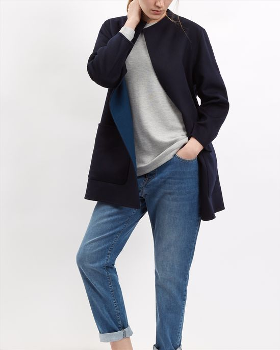 Wool Reversible Duster Coat - null - Model Image