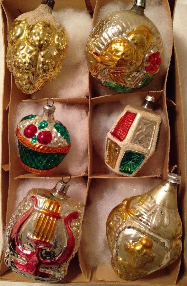 6 ANTIQUE GERMAN EMBOSSED MERCURY GLASS CHRISTMAS FEATHER TREE ORNAMENT SET