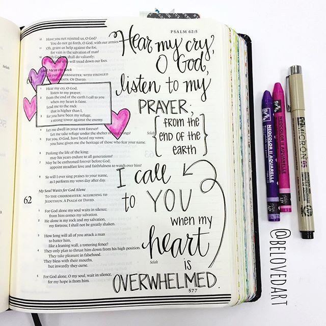 """Psalm 61:1-3 """"Hear my cry, O God, listen to my prayer; from the end of the earth I call to you when my heart is faint. Lead me to the rock that is higher than I, for you have been my refuge, a strong tower against the enemy. """" #belovedartfebruary"""