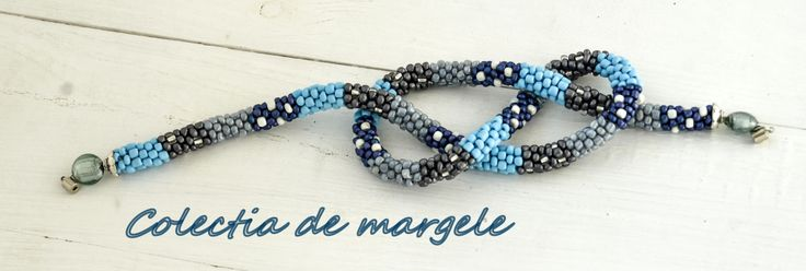 Snowy winter scarf - crochet beading necklace by Colectia de margele bow-knot www.colectiademargele.ro