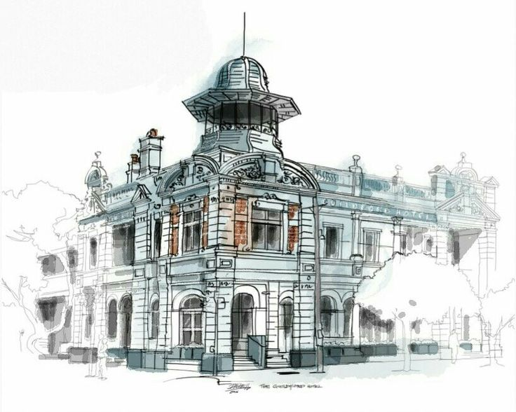 #freehandsketch of #guildfordhotel. Restored after the fire of 2008.