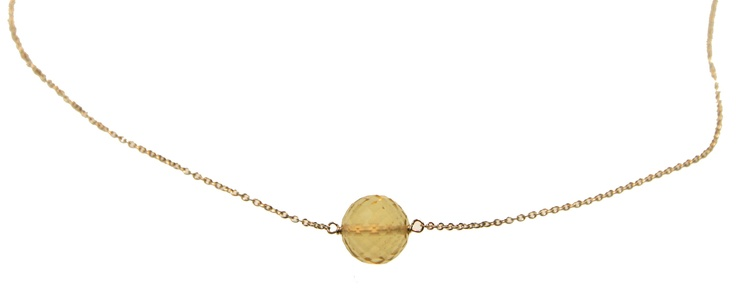 Melissa McArthur Jewellery Circular Cut Lemon Quartz Necklace in 22ct Gold Vermeil