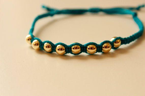 kleine gold Perle Freundschaftsarmband verknotet gold Bead