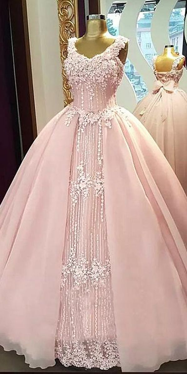 fcfab74da9 Fabulous Tulle   Organza V-neck Neckline Floor-length Ball Gown Quinceanera  Dresses With Beaded Lace Appliques   Handmade Flowers   Bowknot