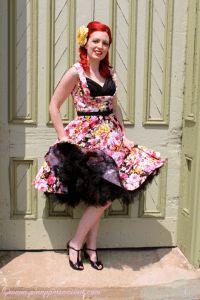 Lindy bop Ophelia black pink floral dress