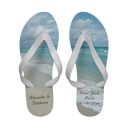 Personalized Beach Wedding Souvenir Flip Flops