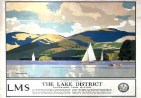 The Lake District Windermere from Bowness LMS Vintage Travel Poster by Norman Wilkinson
