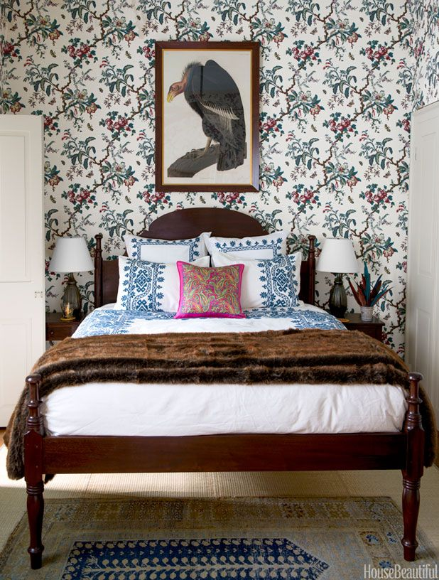wallpaper, bed, rugs // Interior design by Sara Ruffin Costello