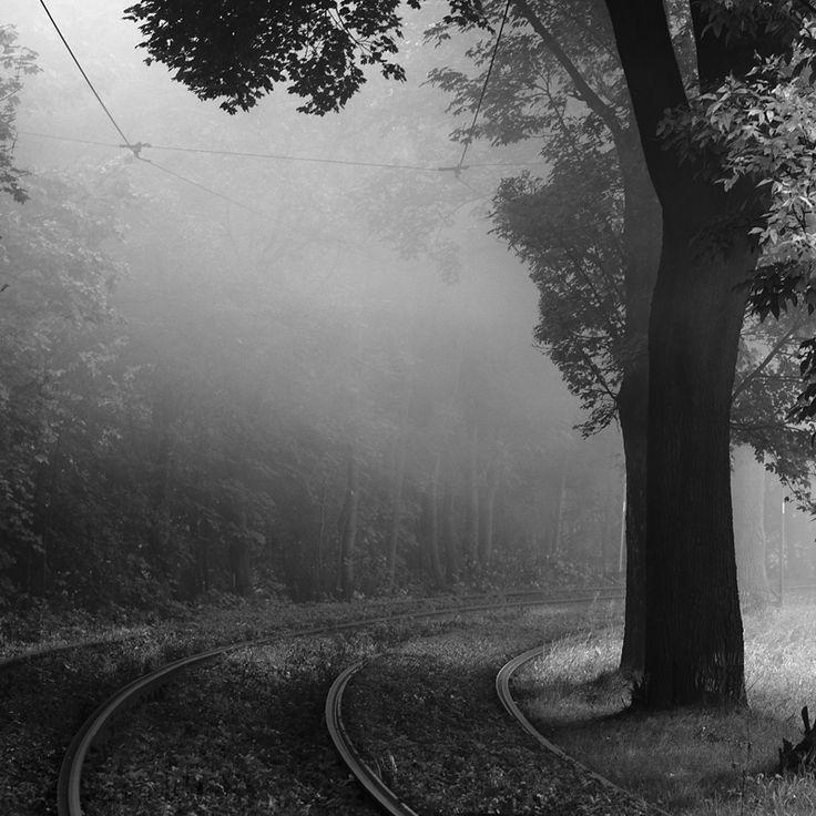 Misty tramway track by *RafalBigda  Tramway track over Bytomka River in Zabrze, Upper Silesia, Poland