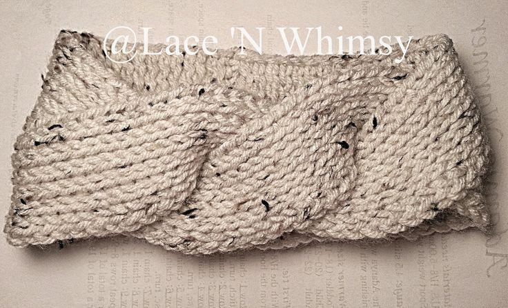 Free Knitting Pattern Twisted Headband : Lace and Whimsy: Triple Twist Headband Ear Warmer Tunisian ...