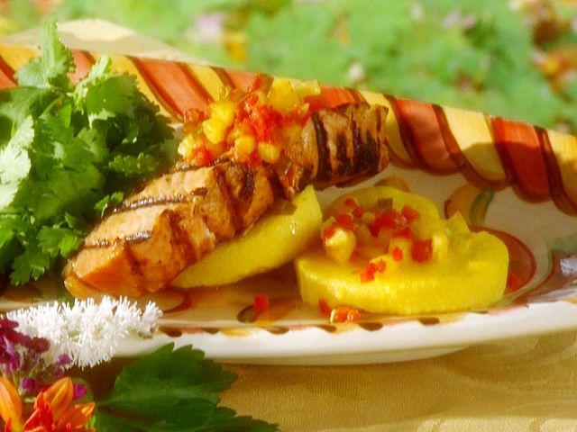 Maple-Glazed Salmon with Pineapple Salsa from FoodNetwork.com