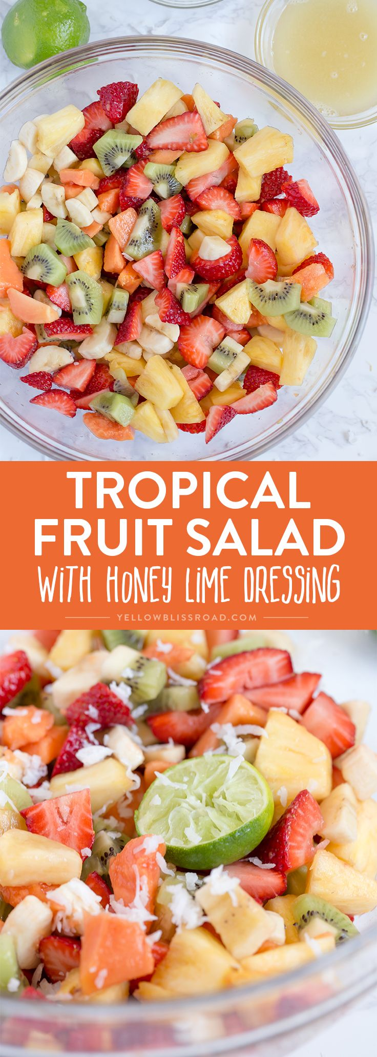 This Tropical Fruit Salad with Honey Lime Dressing is the light and refreshing and the perfect snack or side dish to any spring or summer meal