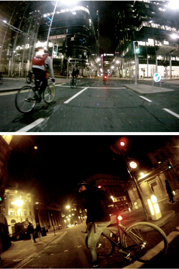 Riding through LDN with my Blinder bike lights - Michael Ramirez riding through an eerily quiet downtown London with his blinder bike lights in tow.