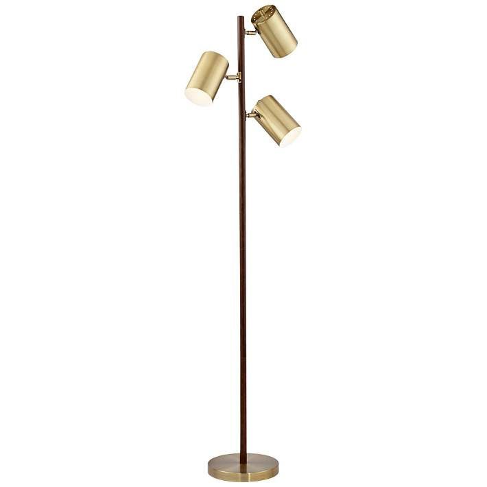 Donatello Walnut And Brass 3 Light Tree Floor Lamp 18x01 Lamps Plus Floor Lamp Tree Floor Lamp Brass Floor Lamp