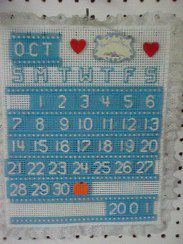 Plastic canvas perpetual calendar.  Make to match your decor.p Put special events in a different color, or add a design to the square.  I've made many of these as gifts.  Always well received.  Add the recipients name to a longer rectangle for the bottom row of the month instead of the number/year squares.  Also, forget about the lace frou-frou edging.