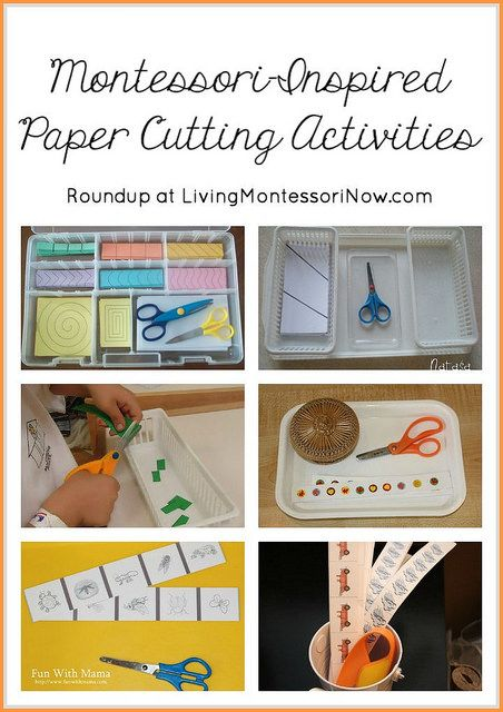 Roundup post with links to lots of free printables plus Montessori-inspired ideas and activities for scissor practice and paper cutting