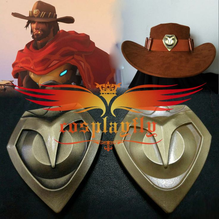 Overwatch Jesse·Mccree Cowboy Cosplay Hat Prop Hat + Copper Badges Collection…
