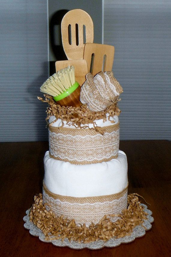 Cream Rustic Bamboo Kitchen Towel Cake // by BountifulsBoutique