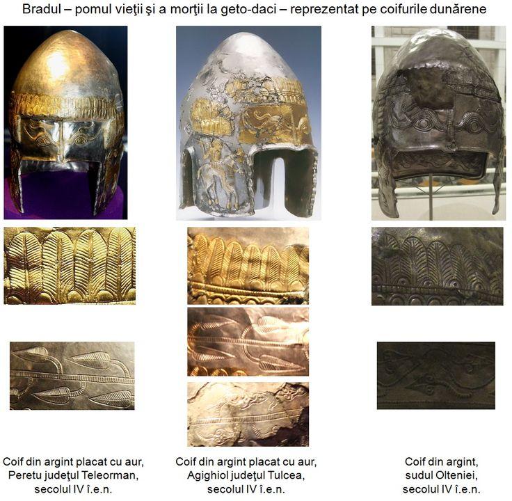Coifurile geto-dacice descoperite la nord de Dunăre, sau cele traco-getice descoperite la sud, indiferent că erau purtate de o mare parte a războinicilor din aria Dunării de Jos ca armă defensivă tipică, că erau piese de paradă sau ofrande depuse în morminte, erau decorate cu simbolul magico-religios al Pomului Vieţii, sugerând existenţa în zona dunăreană a unui puternic cult cu origini în neoliticul Vechii Europe.