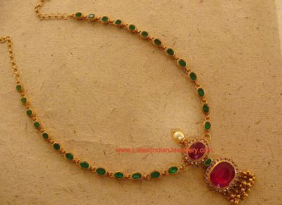 Simple ruby emerald necklace