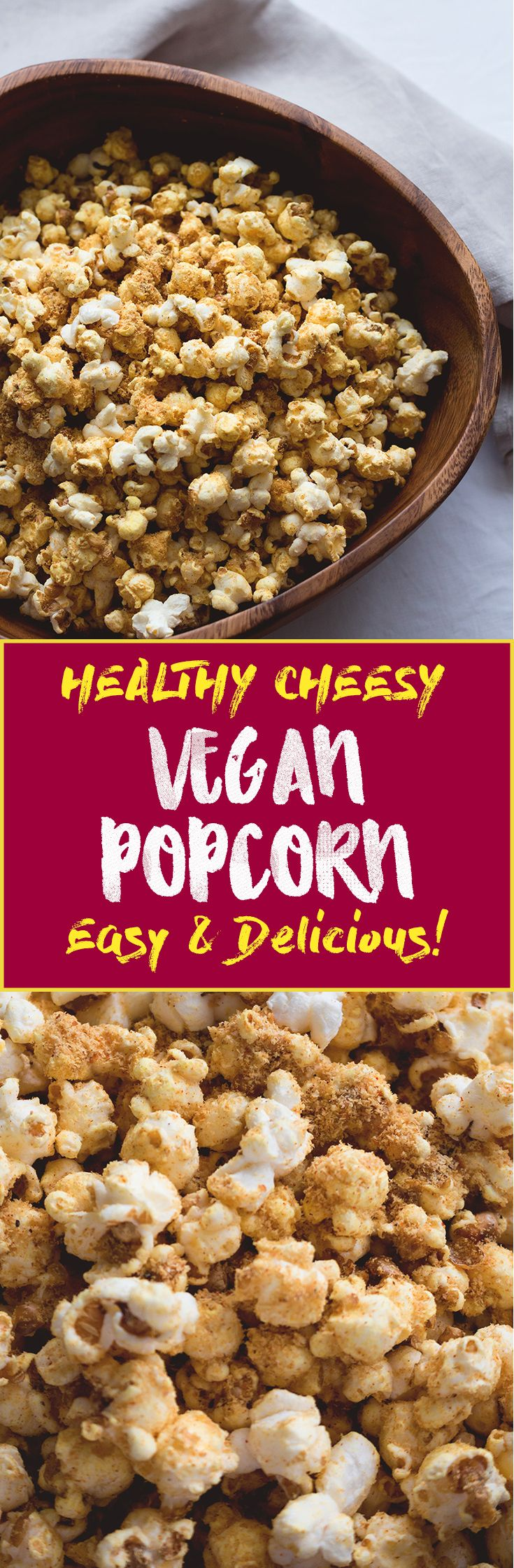 Cheesy Vegan Popcorn - a delicious healthy twist on the classic. Popped the old-fashioned way on the stove with coconut oil and then spiced to perfecting. Ridiculously easy to make! | thehealthfulideas.com