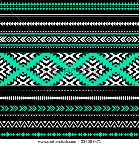 Black White And Green Tribal Navajo Seamless Pattern