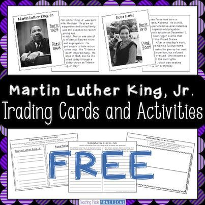 Free trading cards on Martin Luther King, Jr. and Rosa Parks.  Also includes reading activities to use in with the trading cards.
