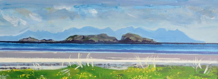 Robyn McGraw, Skye mountains behind Weaver's Castle from airport beach Barra