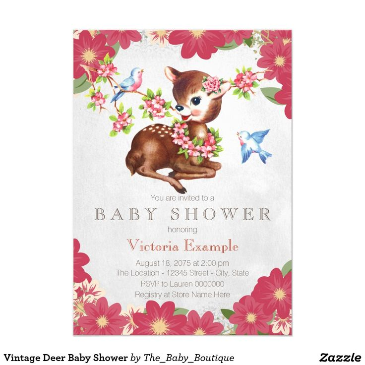 vintage woodland deer antler baby shower card – unitedarmy,