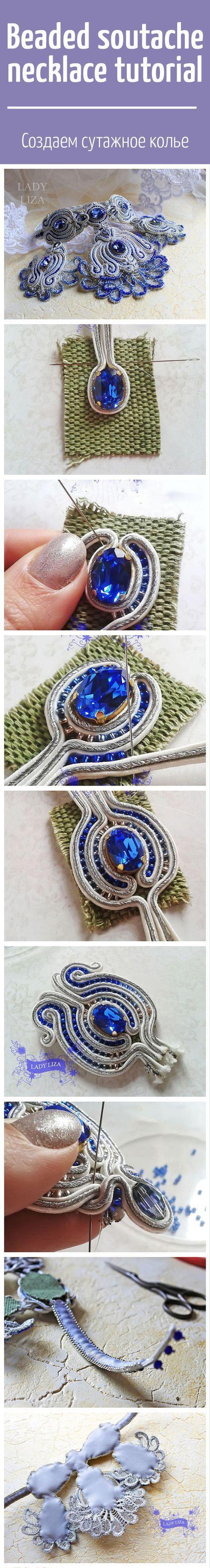 Beaded soutache necklace tutorial / Создаем сутажное колье