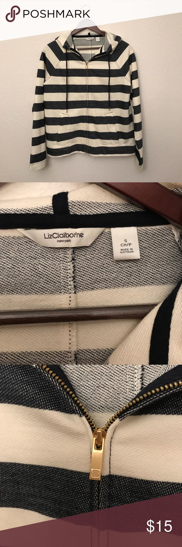 Liz Claiborne Zip Up Perfect condition Liz Claiborne zip up hoodie. Modern, nautical, and light weight. Cut gold detailing on zipper and hoodie strings. Front pockets. Liz Claiborne Tops Sweatshirts & Hoodies