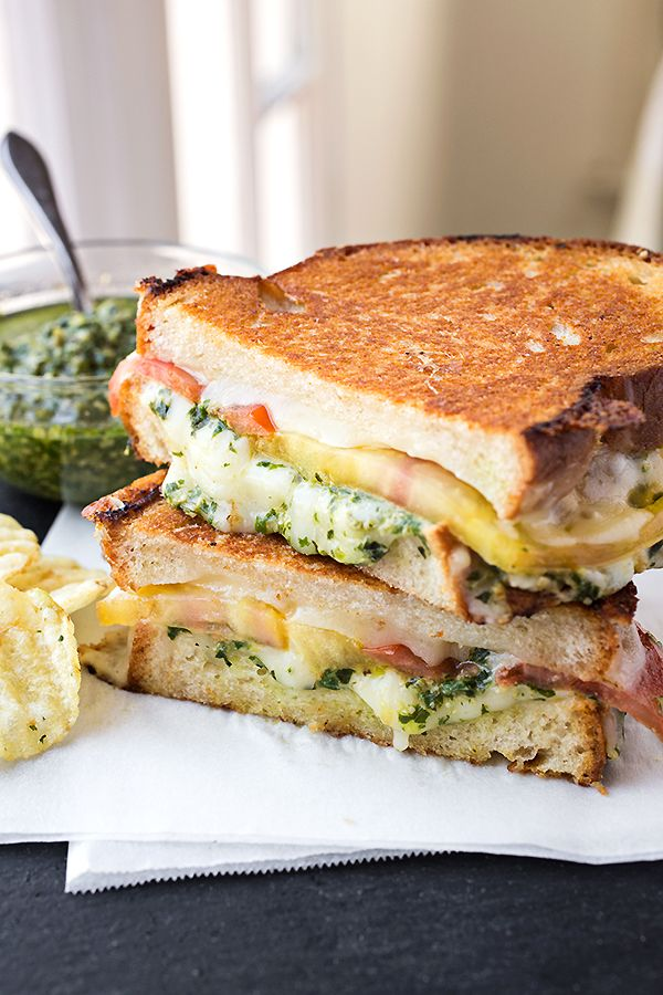 Tomato and Pesto Grilled Cheese Sandwich Recipe- the ultimate in comfort food...