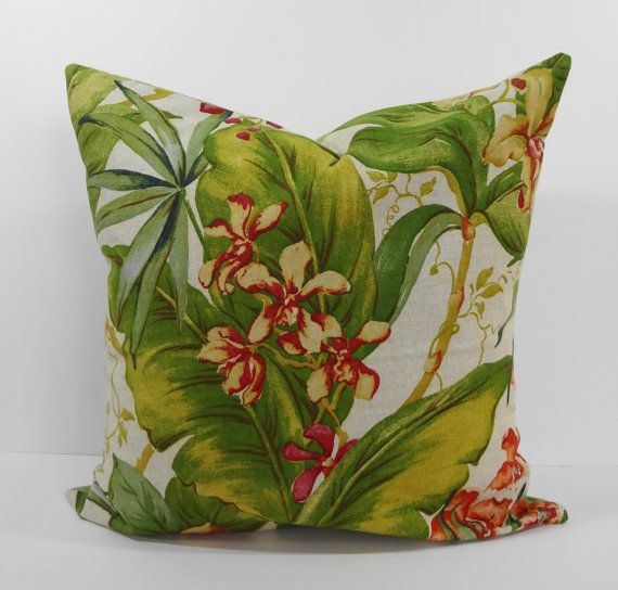 Tommy Bahama Designer Tropical Print Pillow Cover, Decorative Throw Pillow Cushion, Green, 20 x ...