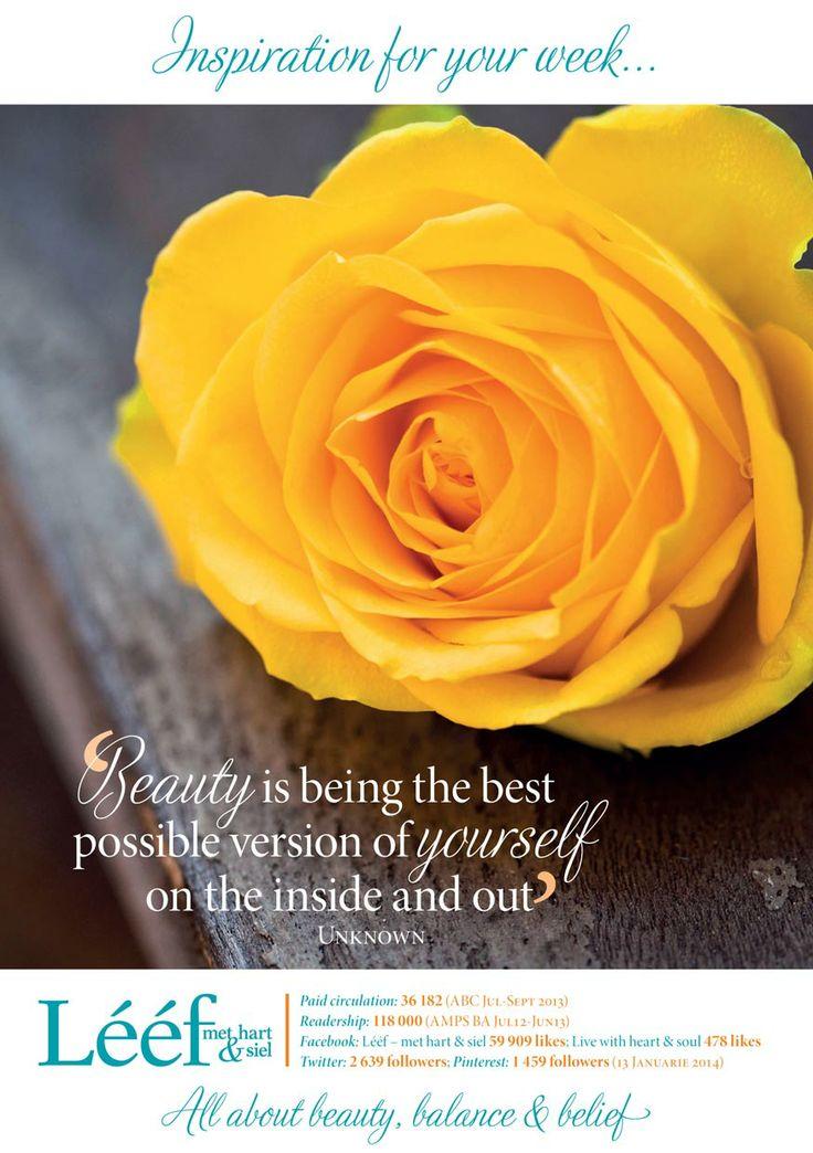Inspirasie vir die week/ Weekly Inspiration www.leef.co.za