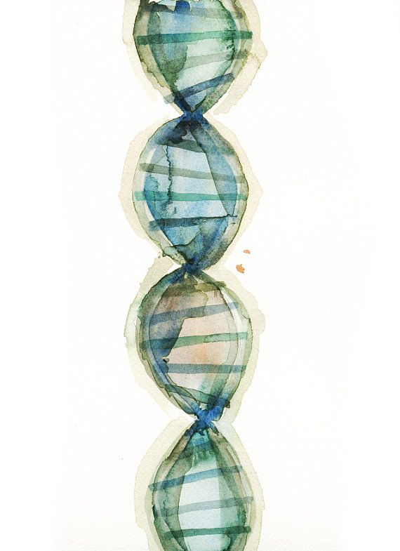 DNA Watercolor Print Genetics Watercolor Art Print by LyonRoad