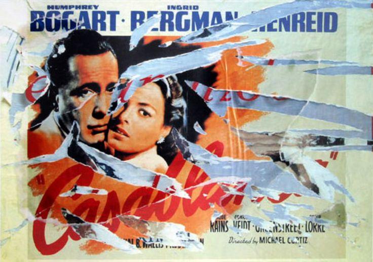 """Artista: Mimmo Rotella (1918-2006) Décollage della locandina di """"L'angelo azzurro"""", 2004 Il poster di Casablanca in un décollage di Mimmo Rotella Décollage del film: """"La gat…"""