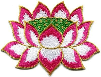 Lotus flower Buddhism Guanyin pink w/gold trim applique iron-on patch S-1246 in Crafts, Sewing & Fabric, Sewing | eBay