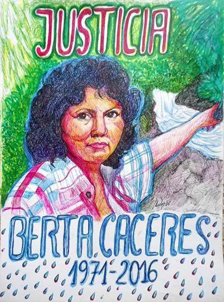 Justicia para Berta Cáceres. 2016. Bolis y rotuladores / papel. 32 x 24 cms.